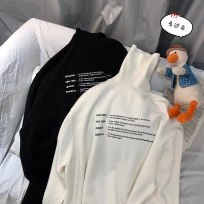 2019冬季新款加厚高领毛衣男女宽松版开衩印花针织衫 M201-P60