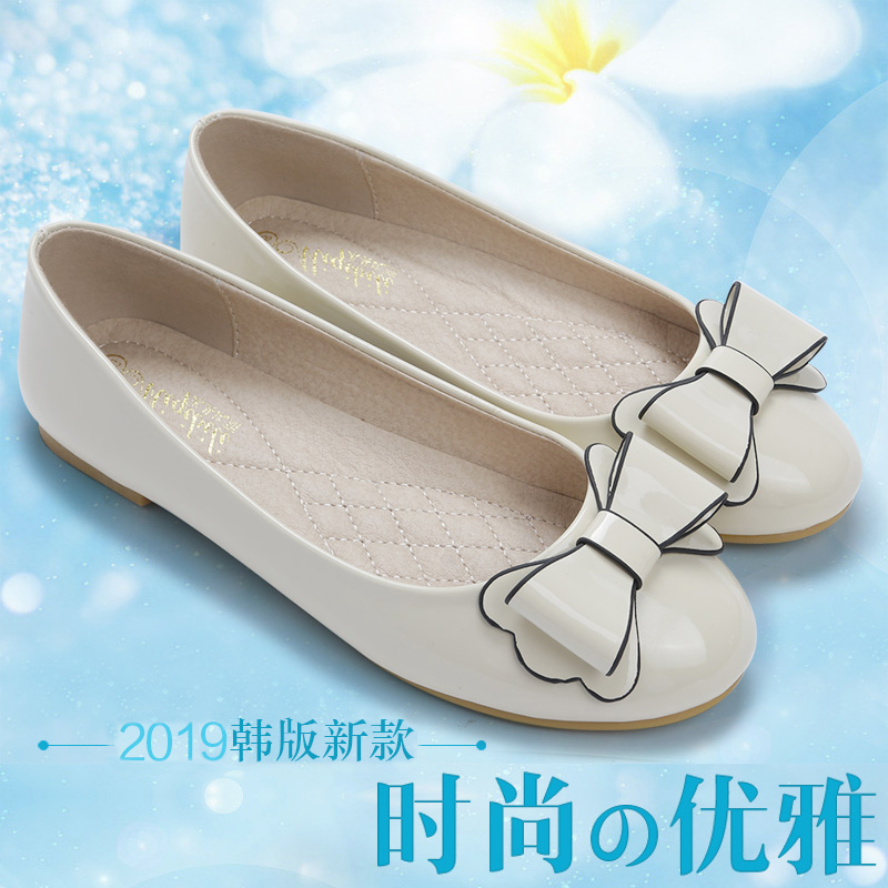 Oxford sole womens single shoes soft sole flat bottom beans shoes sweet patent leather round head Ladybug shoes fat feet wide fat size womens shoes 41