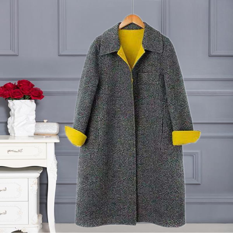 Autumn and winter double faced cashmere coat womens 2020 new thickened color dot contrast doll collar medium length wool coat a
