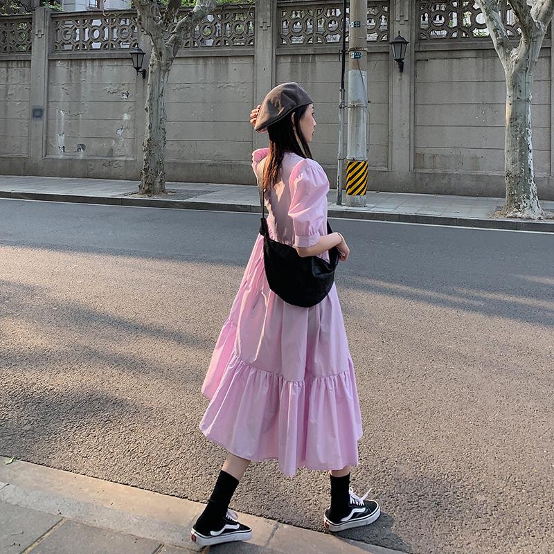 法式泡泡袖连衣裙女2020夏季新款韩版宽松显瘦娃娃裙初恋裙中长款图片