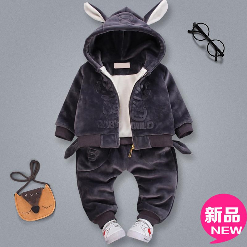 宝宝加绒卫衣套装男0一1岁2婴儿3男童装5金丝绒4加厚秋冬款两件套