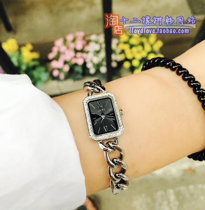 韩国专柜lloyd正品女表腕表方款镂空罗马字银黑盘镶钻22mm原包装
