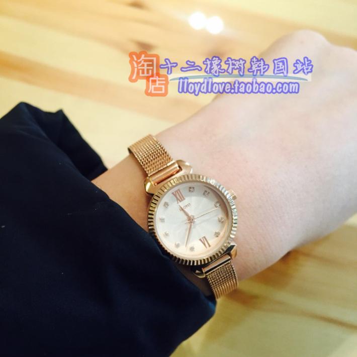韩国饰品lloyd专柜时尚玫瑰金色腕表女表22mm表盘宝石蓝金属压花