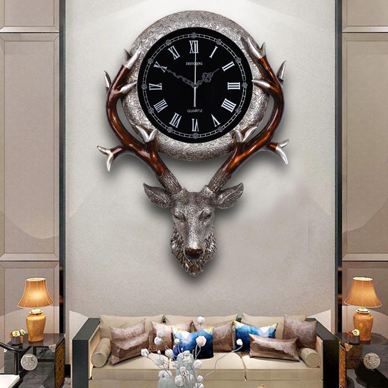 欧式钟表客厅创意复古鹿头挂钟玄关轻奢家用北欧美式静音时钟挂墙 Изображение 1
