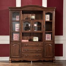 谷珀 全实木书柜黑胡桃木书柜美式四门书柜书橱美式乡村书房家具