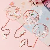 猫与花故宫文创礼品 中国风金属团扇书签定制 少女心古风生日礼物