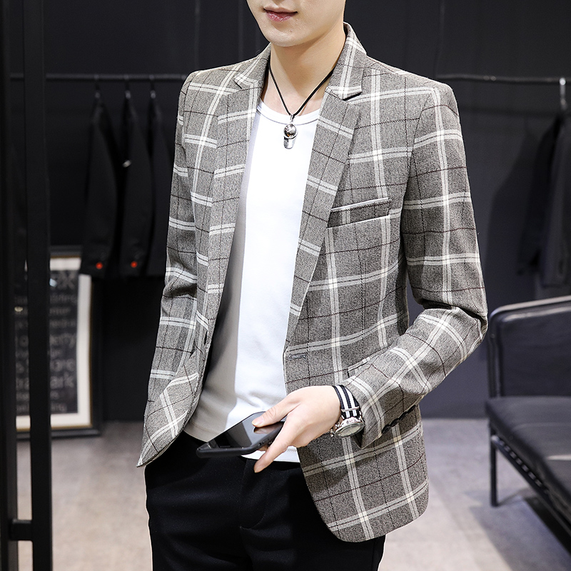 Spring and autumn check mens suit fashion Korean version slim youth Blazer mens single Western casual coat