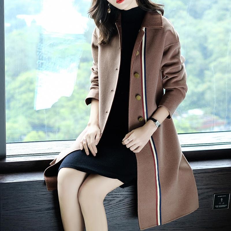 妃之影时尚翻领毛呢外套女中长款2018新款冬装长袖双面呢子大衣女