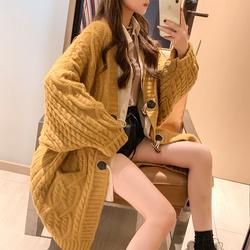 网红针织开衫女宽松慵懒风2020秋冬装新款加厚中长款外穿毛衣潮