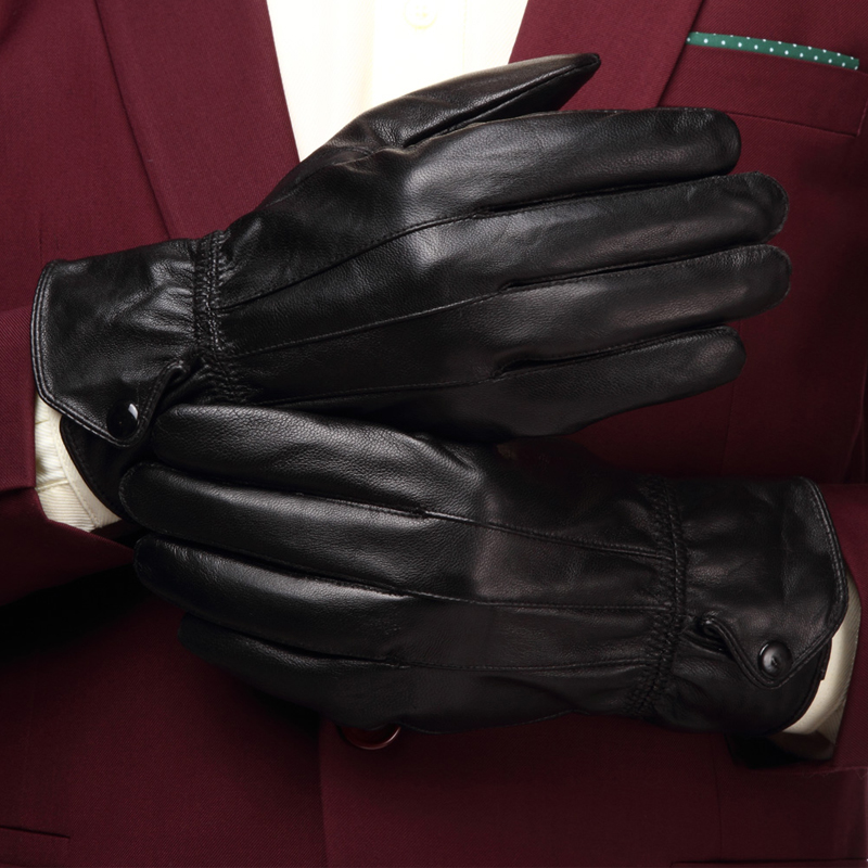 Extra large leather gloves for men with plush in winter