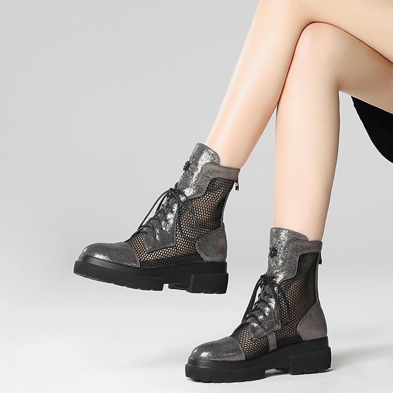 2021新款夏季网纱马丁靴女厚底包头凉鞋女平底鞋真皮网靴凉靴镂空
