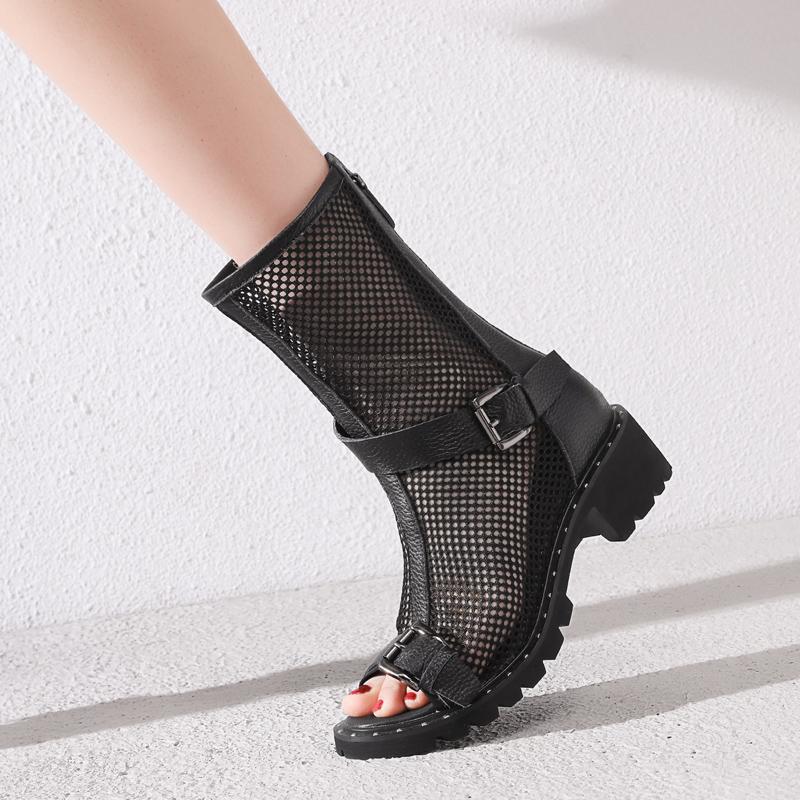 夏季真皮中跟网靴镂空女士马丁靴英伦风鱼嘴罗马网纱凉靴平底凉鞋