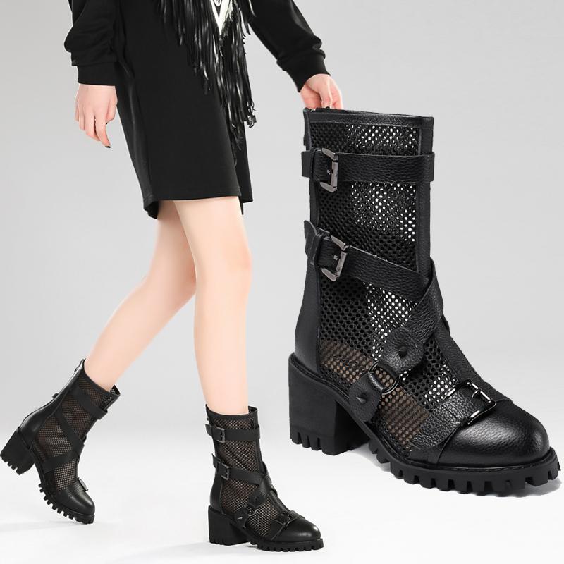 网纱马丁网靴春薄款女夏季透气真皮镂空凉鞋女英伦风罗马凉靴粗跟