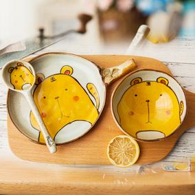 包邮儿童卡通陶瓷餐具套装釉下彩杯