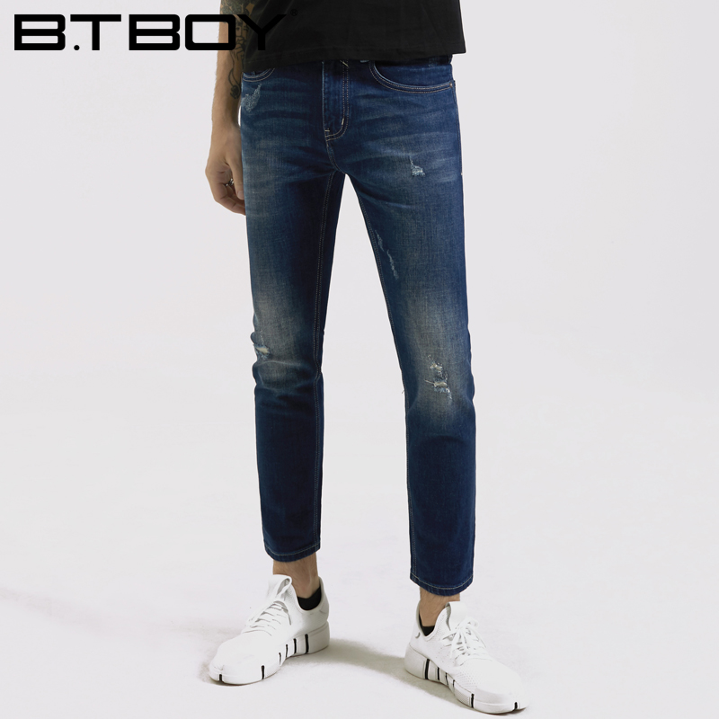 BTBOY棒球小子 2018夏季男中腰修身窄脚牛仔裤青少年弹力九分裤