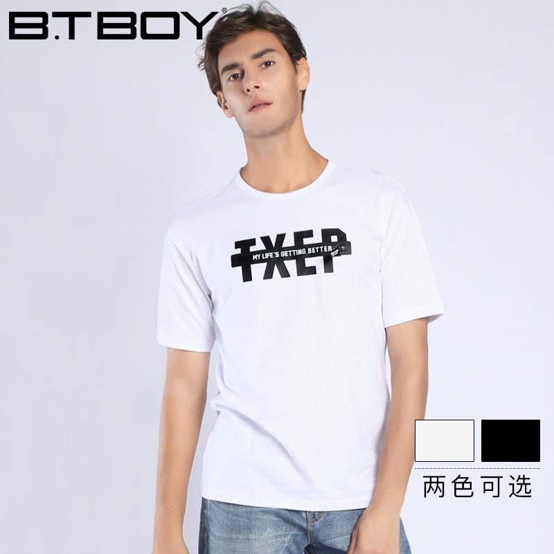 BTBOY棒球小子夏季男士短袖t恤圆领修身青少年白色体恤学生男装潮