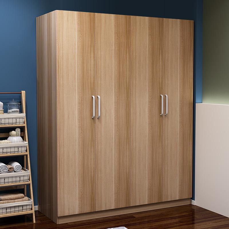 简约现代经济型衣柜实木34门木质简易卧室组装板式大衣柜儿童收纳