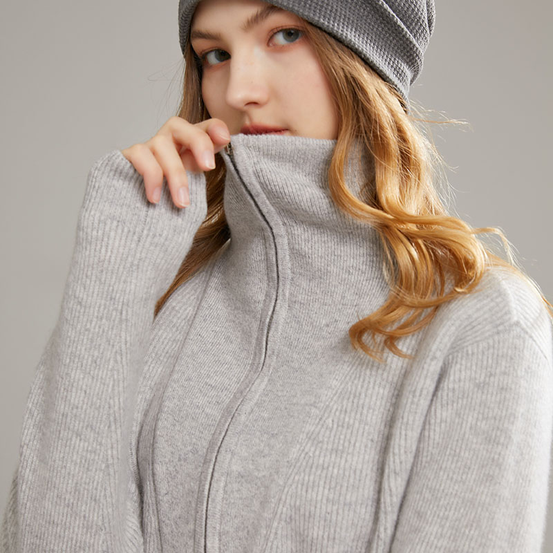 New long sleeve cashmere sweater womens 100 pure cashmere solid color Pullover high neck hooded autumn and winter zipper