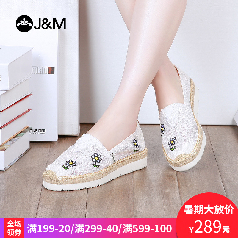 jm快�番���2018夏季新款平底松糕鞋厚底蕾�z�O夫鞋帆布鞋女52033W