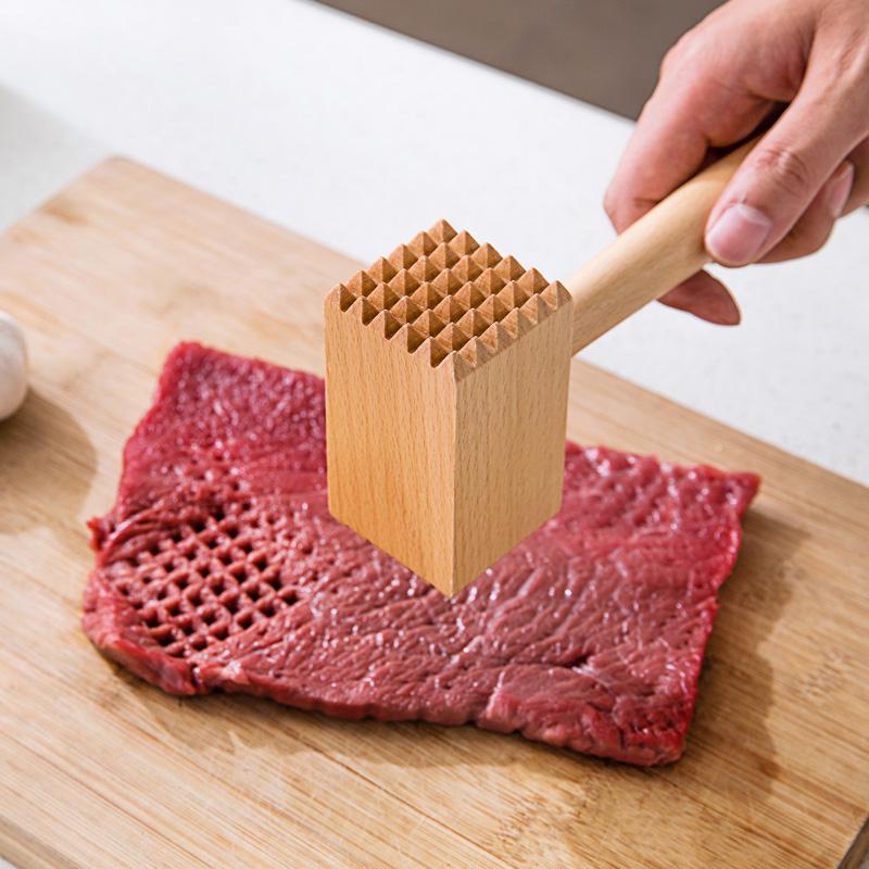 实木肉锤宜家松肉锤双面敲肉锤家用榉木牛排锤打肉锤子原木厨具