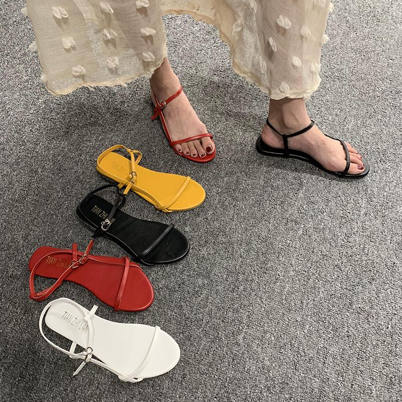 凉鞋女仙女风2020新款性感露趾一字带扣细跟网红同款百搭低跟鞋夏图片