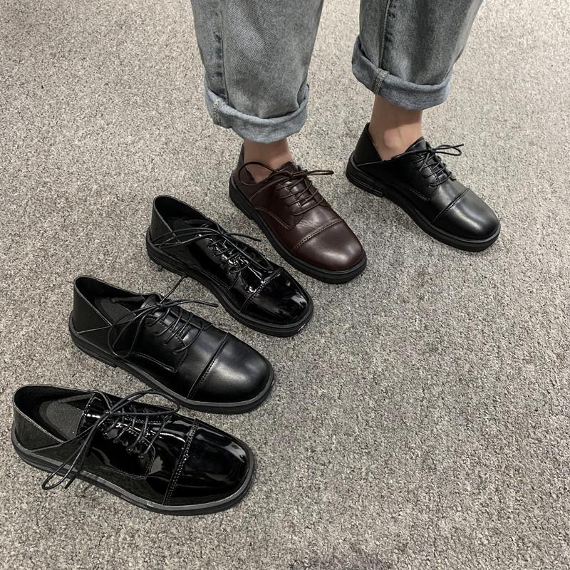 英伦风小皮鞋女2020新款冬季韩版百搭网红一脚蹬休闲黑色平底单鞋图片