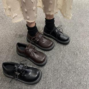 韓版ulzzang原宿復古學生厚底百搭學院風大頭小皮鞋女軟妹單鞋潮