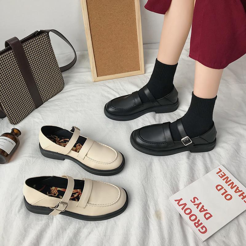 2020春款韩版ulzzang英伦风街拍韩版百搭学院chic小皮鞋女单鞋潮
