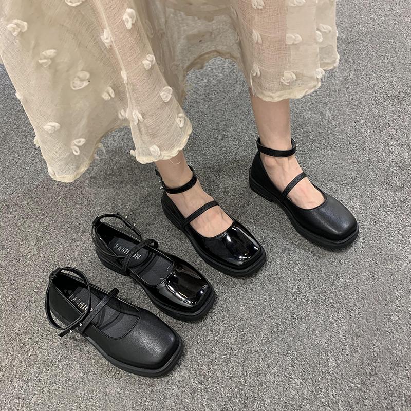 一字带JK小皮鞋女2020春夏新款学院风平底英伦复古百搭玛丽珍单鞋