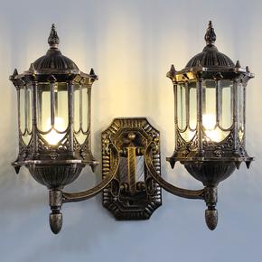 欧式防水户外双头壁灯双头灯具庭院灯外墙灯复古室外过道大门壁灯