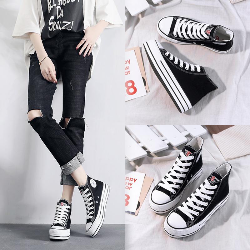 人本帆布鞋女高帮松糕底内增高黑色板鞋学生韩版百搭系带厚底女鞋