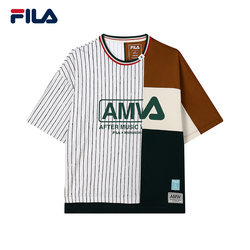 FILA x MIHARA斐乐官方男士短袖T恤2021夏秋新款拼接圆领宽松衫