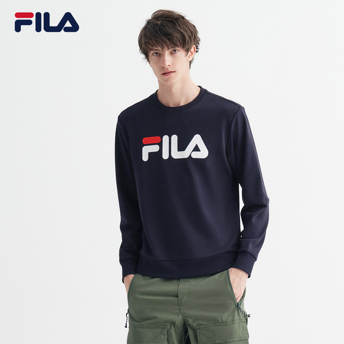 FILA sports sweater men and women official couple sweater pullover round neck 2020 autumn new loose