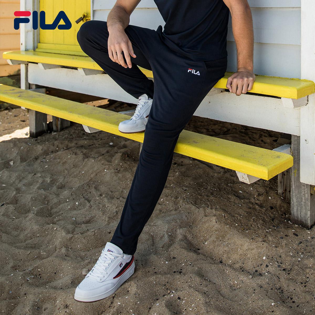 FILA斐乐长裤男裤2018夏季休闲运动时尚潮流针织简约长裤男直筒裤