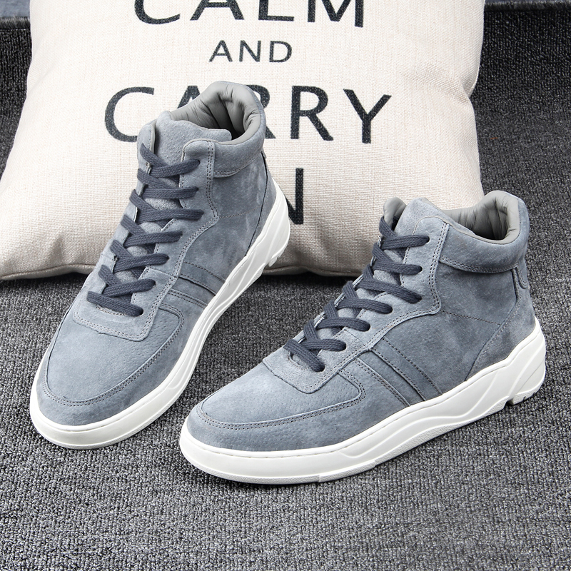 2020 new winter fashion mens shoes mens high top shoes Korean hairy warm trend board shoes sports casual shoes