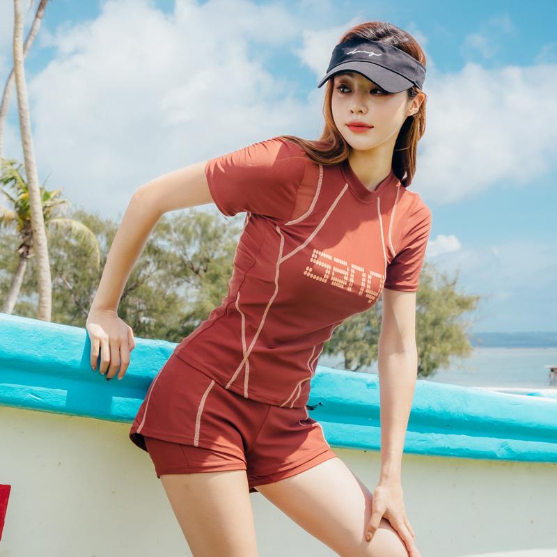 2020新款泳衣女显瘦遮肚保守分体两件套韩国ins风大码胖MM游泳装