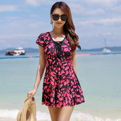 Swimsuit female mother middle-aged and elderly one-piece skirt high waist conservative cover belly slimming loose large size hot spring swimming suit