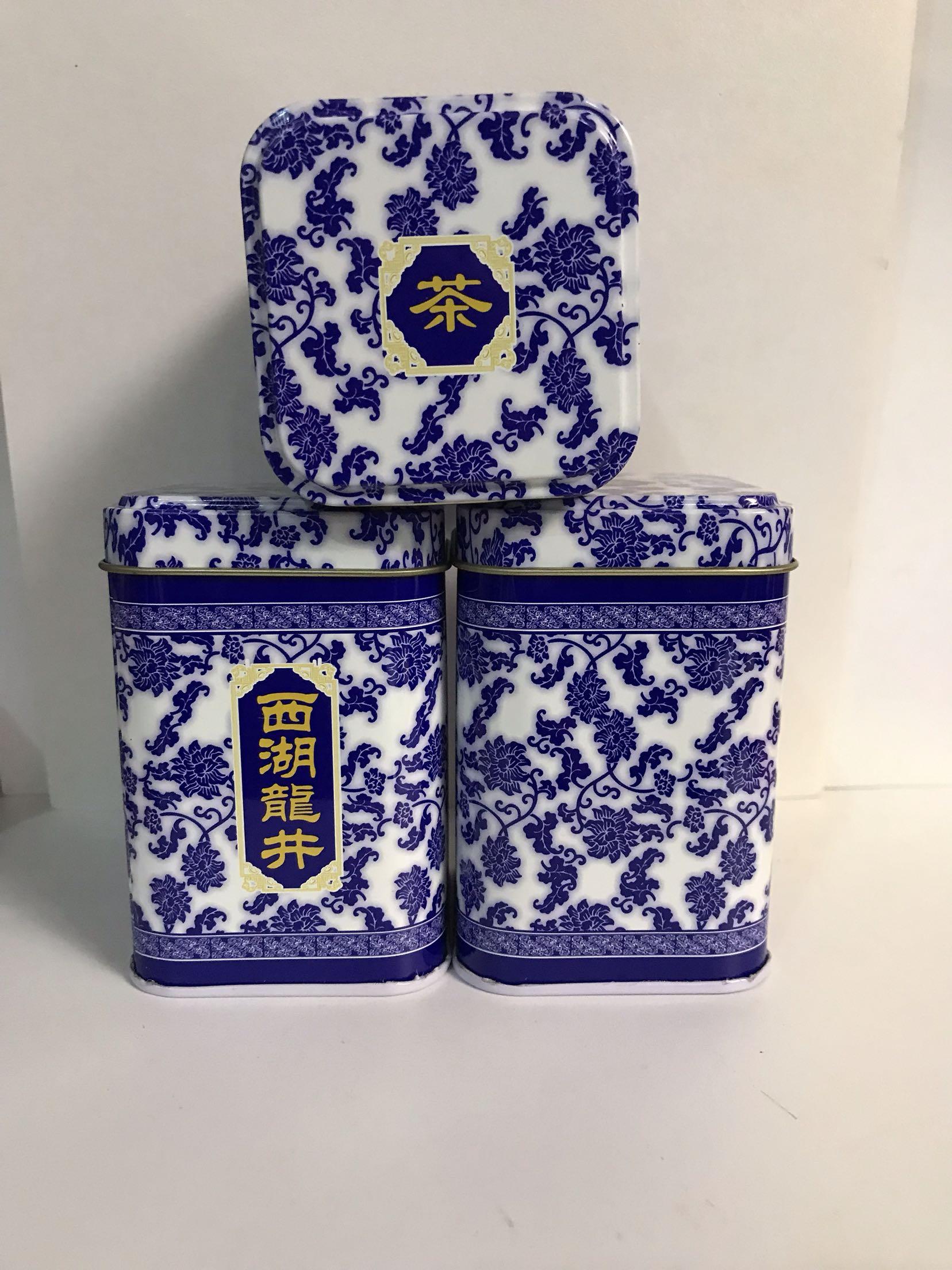 西湖龙井茶铁罐空盒茶叶包装盒小样小泡茶50克铁听单品