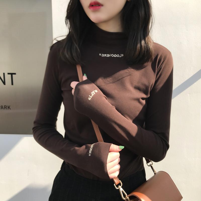 秋冬季新款半高领打底衫女修身显瘦加绒纯色长袖T恤内搭加厚上衣图片
