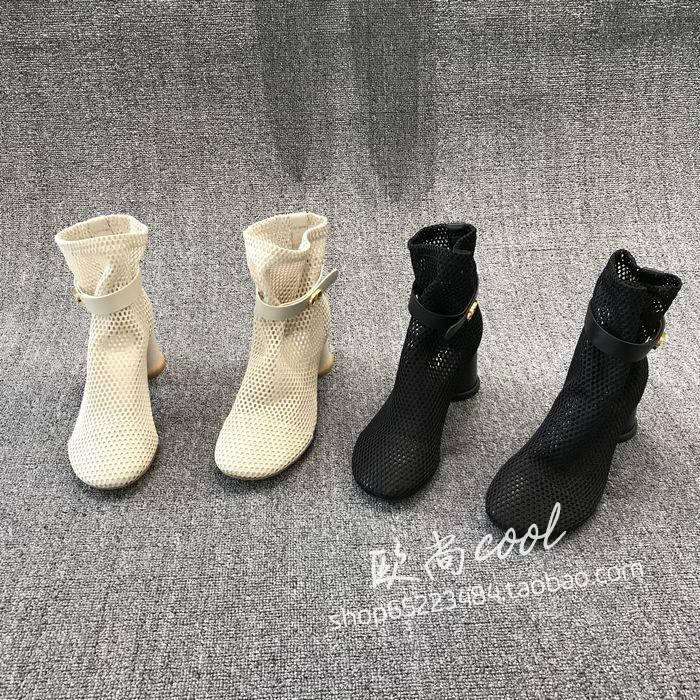 欧洲站女鞋2021春季新款真皮网面圆头套筒皮带扣粗跟高跟镂空网靴