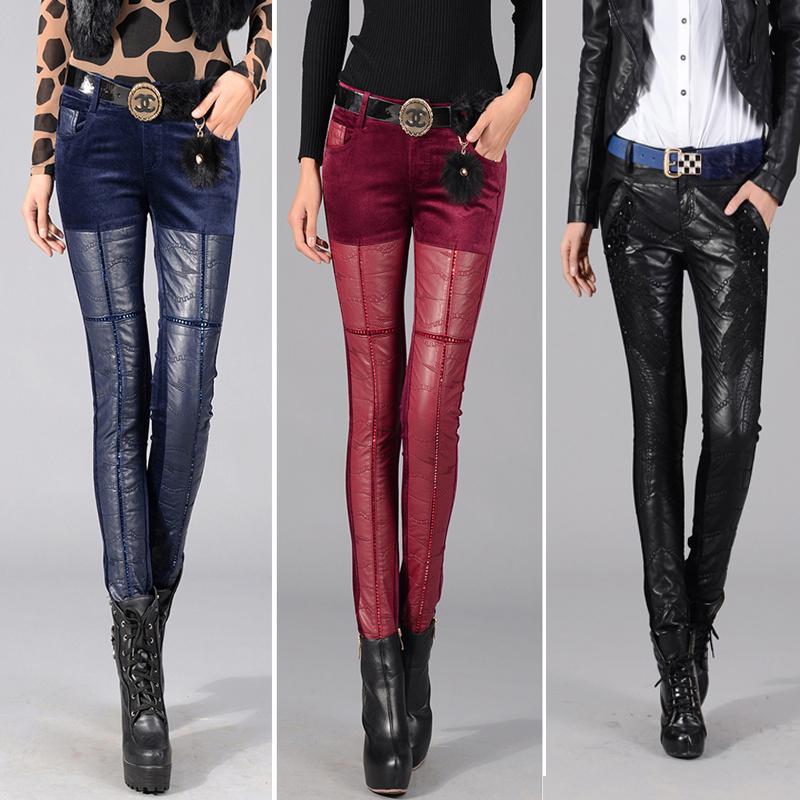 新款女 小脚裤镶钻刺绣加厚皮裤大码休闲裤紧身长小脚裤