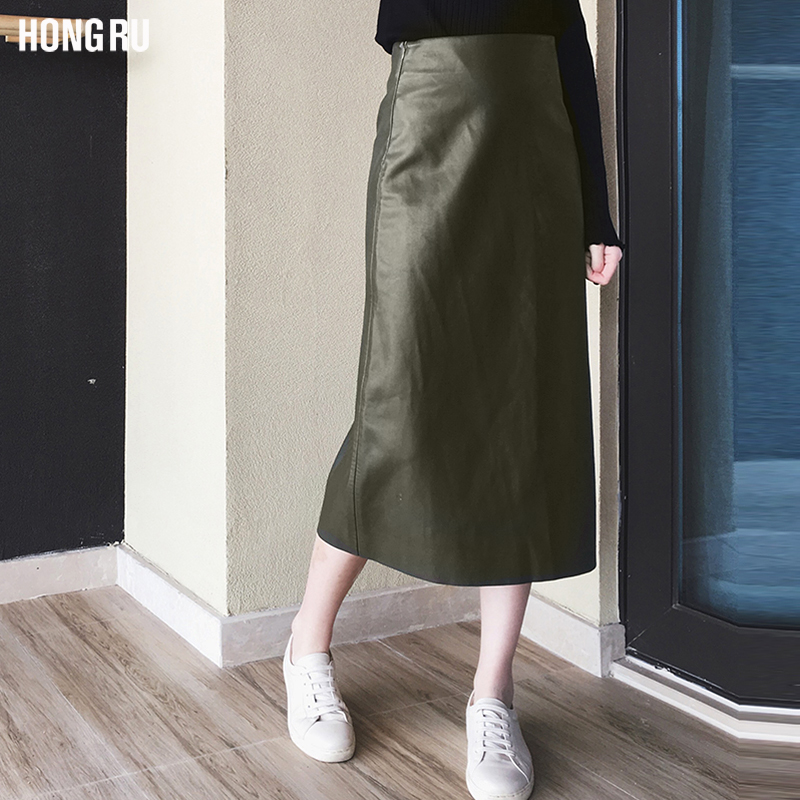 New style PU leather skirt womens high waist skirt in spring and autumn of 2017