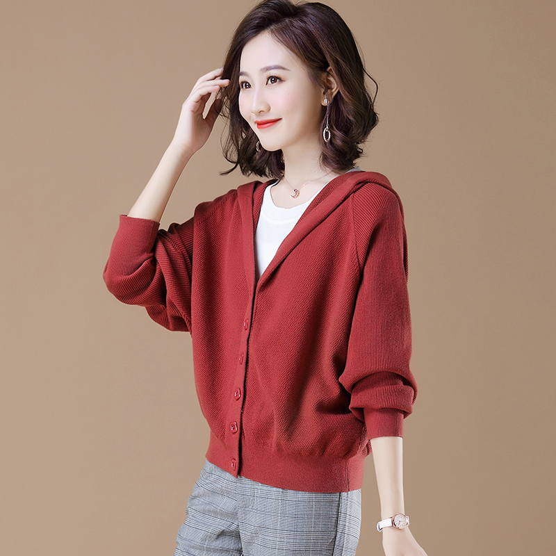 Spring knitted cardigan womens short spring dress 2020 new style outside with bat sweater coat spring and autumn loose large size