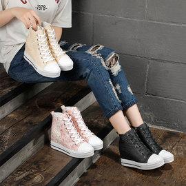 韩版内增高8cm高帮鞋真皮休闲坡跟单鞋百搭厚底短靴女2019秋冬款