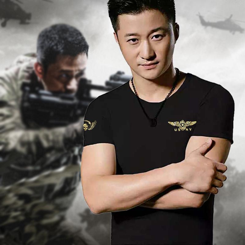 短袖圆领中国旗刺绣特种兵部队体T恤军装男军迷套紧身衣服饰弹力