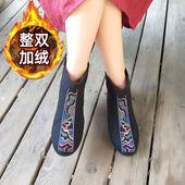 九天莲池靴子女鞋2019秋冬复古民族风绣花短靴女内增高棉鞋女布鞋