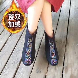 九天莲池靴子女鞋2019新款复古民族风绣花短靴女内增高棉鞋女布鞋