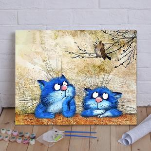 diy数字油画猫 客厅风景花卉卡通动漫人物手绘定制大幅填色装 饰画