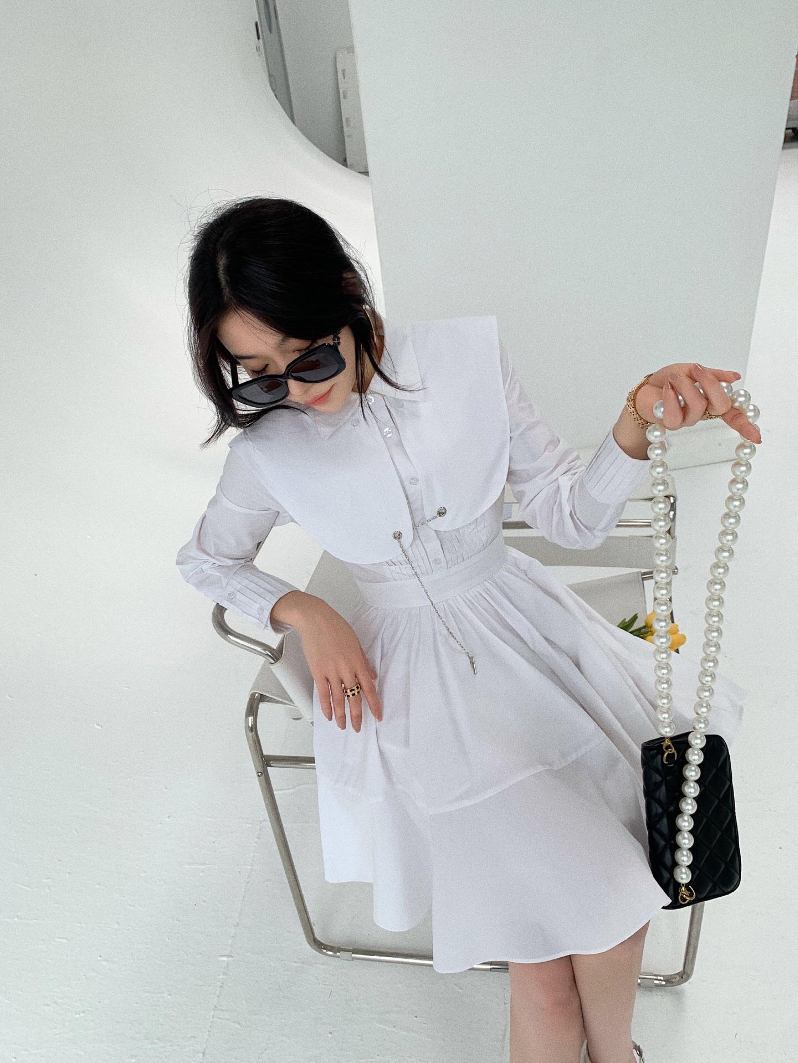 铂金少女 2021年春季新款显瘦披肩长袖衬衫连衣裙