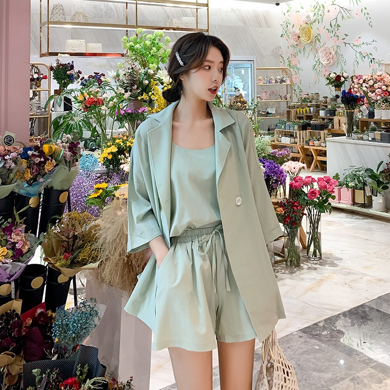 Qingxin Yujie suit temperament light small suit waistband lace up wide leg pants womens summer vest three piece package mail